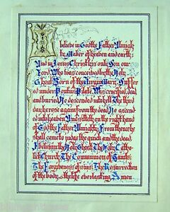 CALLIGRAPHY-TWO-ILLUMINATED-MANUSCRIPTS-THE-CREED-ETC-INK-W-COL-ENG-SCH-C1830