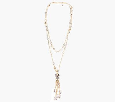 Luxe Rachel Zoe 2 Strand Crystal Necklace Light Purple Crystal Enhancer $134 QVC