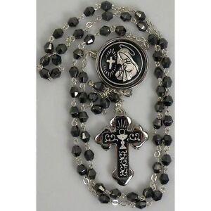 Damascene-Silver-Rosary-Cross-Virgin-Mary-Black-Beads-by-Midas-of-Toledo-Spain