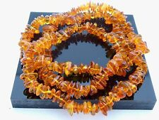 """Natural Authentic Untreated Baltic Amber Nugget Chip Gemstone Beads 30"""" Necklace"""