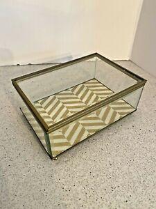 Vintage Jewelry Box Beveled Glass & Brass Trinket Box HInged Lid Fabric Liner