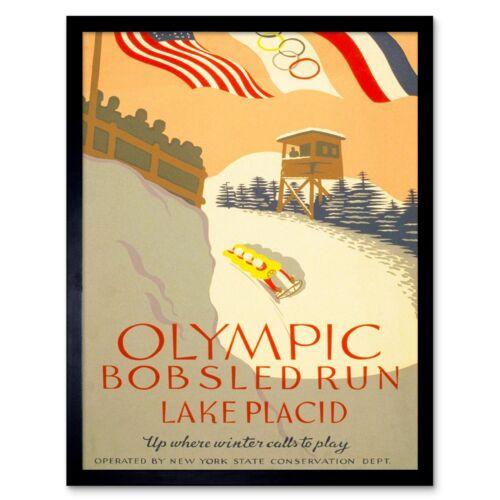 Vintage Sport Winter Olympic Bobsled Run 12X16 Inch Framed Art Print
