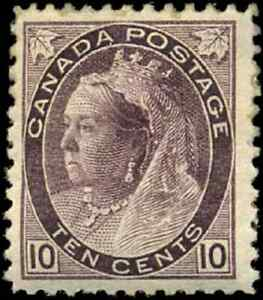 Canada-83-mint-F-VF-OG-HR-1898-Queen-Victoria-10c-brown-violet-Numeral-Issue