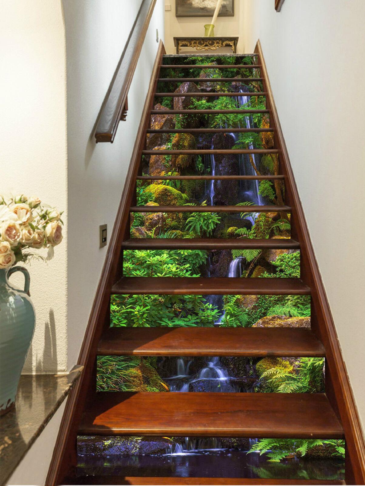 3D Wald Ansicht 428 Stair Risers Dekoration Fototapete Vinyl Aufkleber Tapete DE