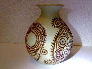 Vase-Studio-Pottery-Tiki-Tribal-H-Tinoi-Morea-RJG-91-H-14-cm-LOOK