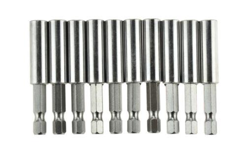 "10 pcs 1//4/"" Magnetic Bit Holder Driver 2 3//8/"" Long CHROME for Cordless Drills"