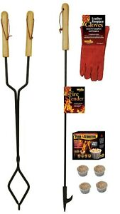 Fireplace-Tongs-Poker-Gloves-and-Fire-Starter-Tool-Gift-Set-Fire-Pit-Campfire