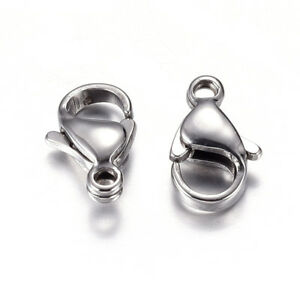 100Pcs 304 Stainless Steel Gunmetal Lobster Claw Clasps 12x7x3.5mm Hole 1.5mm