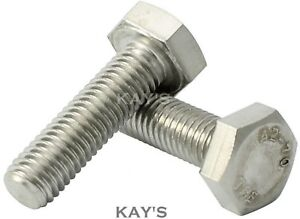 M10 X 110 Hex Head Set Screws Fully Thread Bolts A2 stainless DIN 933-4 pack