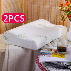 2-x-Contour-Memory-Foam-Pillow-Bamboo-Luxury-Firm-Head-Neck-Support-Orthopaedic