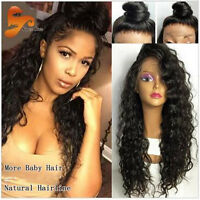 Glueless Soft Curly Front Lace Wigs Brazilian 100% Human Hair Baby Hair Wigs