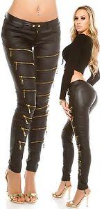 KouCla-Wetlook-Pantalon-Pantalon-Femmes-Avec-DECORATION-zips