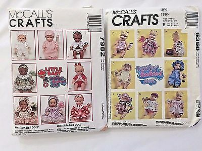 7982 6368 Lot 2 Water Babies Little Baby Doll Clothes Sew Pattern McCalls Craft