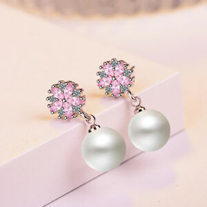 Women-039-s-Elegant-925-Sterling-Silver-Pink-Zircon-Cherry-Blossoms-Pearl-Earrings