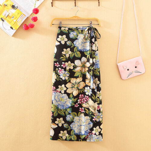 Skirt Women Summer Casual Boho Beach Skirt High Waist Long Floral Wrap Skirt W0