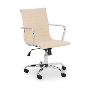 Sensational Details About Ivory White Leather Swivel Desk Office Chair Brand New Pdpeps Interior Chair Design Pdpepsorg