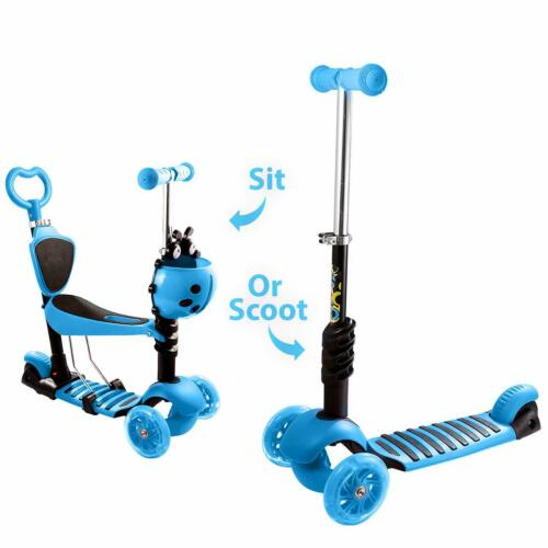 Scooter for Kids 3 in 1 Push Kick Ride on Child Kids Scooter LED Lights Boy/&Girl