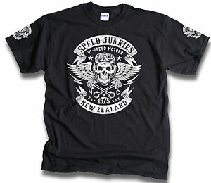 Speed-Junkies-New-Zealand-Biker-Skull-Wings-Pistons-Patch-Mens-T-Shirt-Sm-3XL