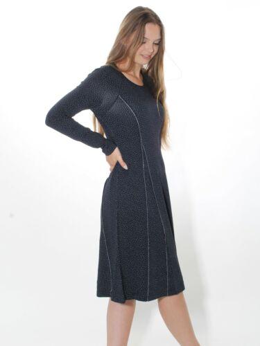 10/% Kleid von Simclan Gr 36 40 42 Jersey dunkelblau grüne Pünktchen