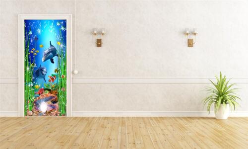3D Dolphin Shell Self-Adhesive Door Murals Bedroom Wall Stickers Wallpaper