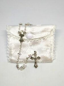 Rosary in Purse with Daisy effect Beads - Silver Metal
