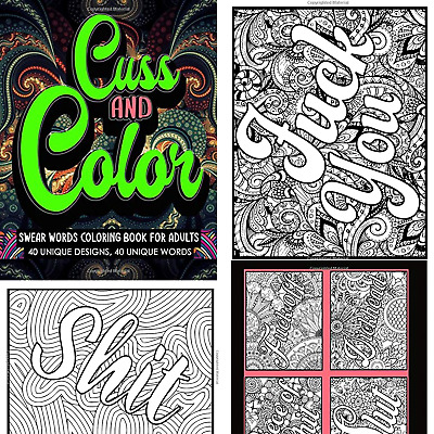 Adult Coloring Book Stress Relief Relaxation Cuss Word Swear Single Sided  EBay