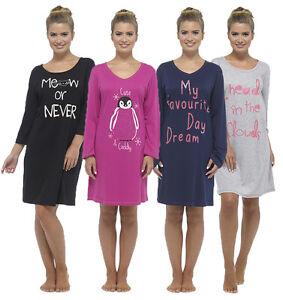 Ladies-Short-Or-Long-Sleeve-Nightie-Nightwear-Print-NightDress-8-22