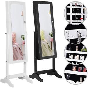 Schmuckschrank mit Spiegel Schmuckkommode Standspiegel Schmuck Schrank Weiß