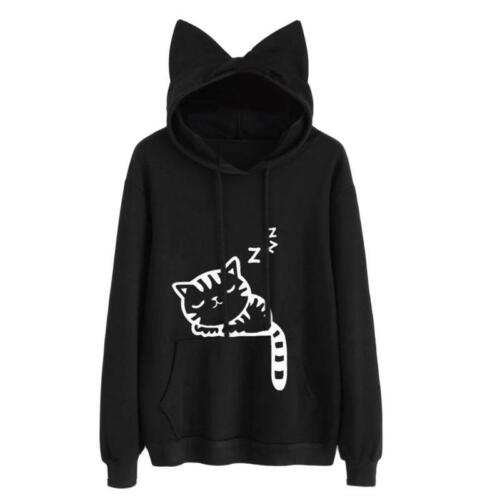 Cute Sweatshirts Loose Pullover Cat Ear Hoodies Women Casual Outerwear Tracksuit