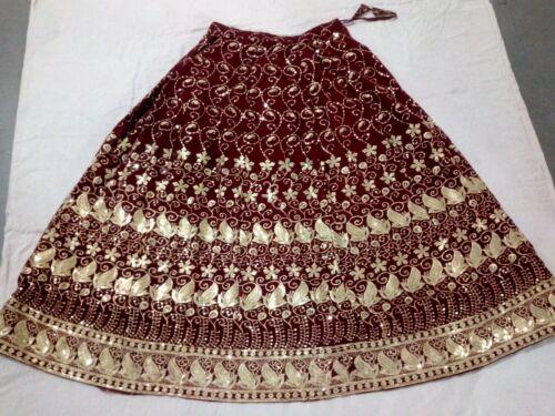 Indian Vintage Lehenga Pure Chiffon Zari Long Skir