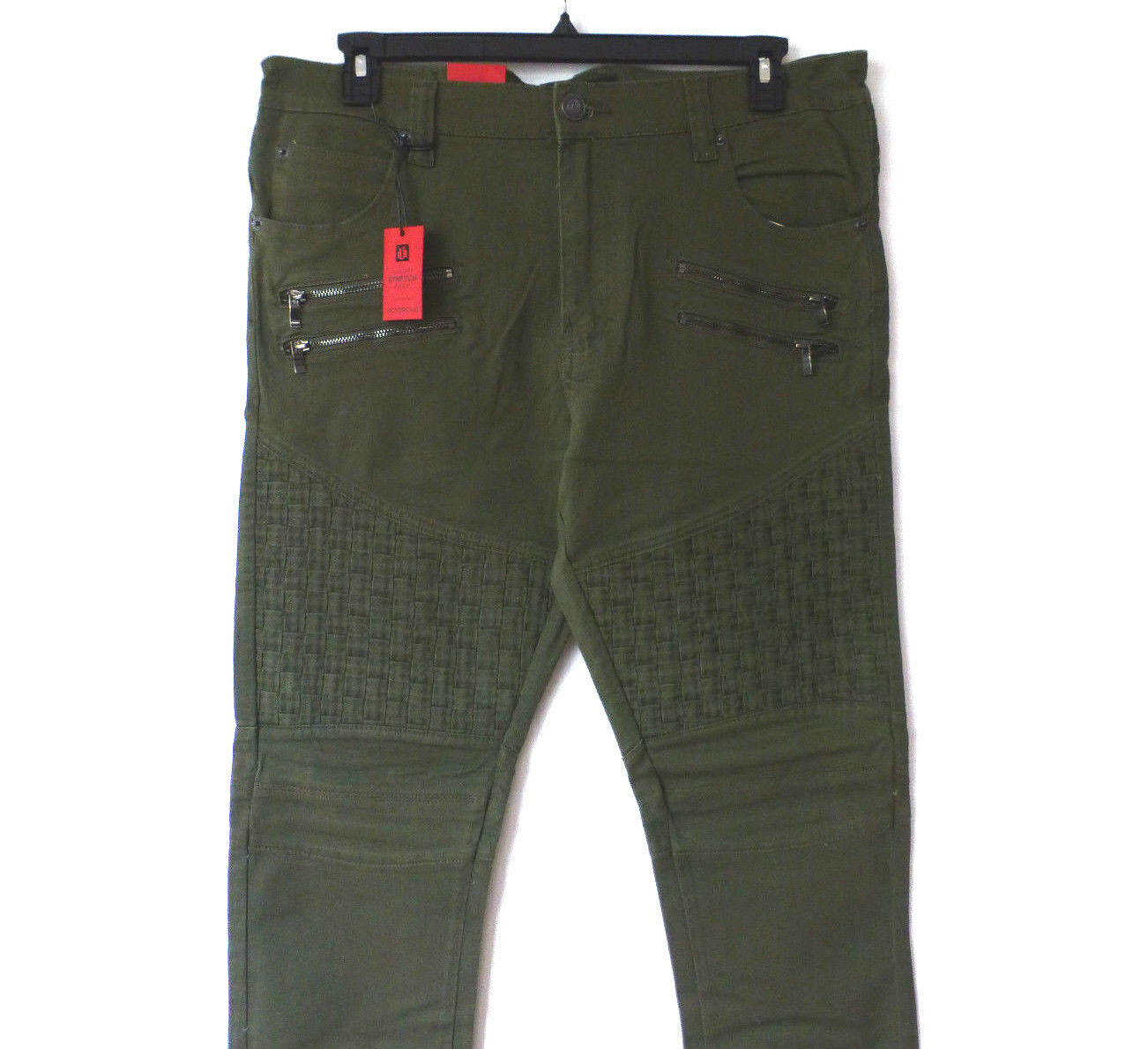 Victorious Jeans Mens 32X30 Olive Green Slim Fit Stretch Basket Weave Jeans New