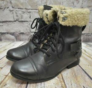 low heel womens combat boots