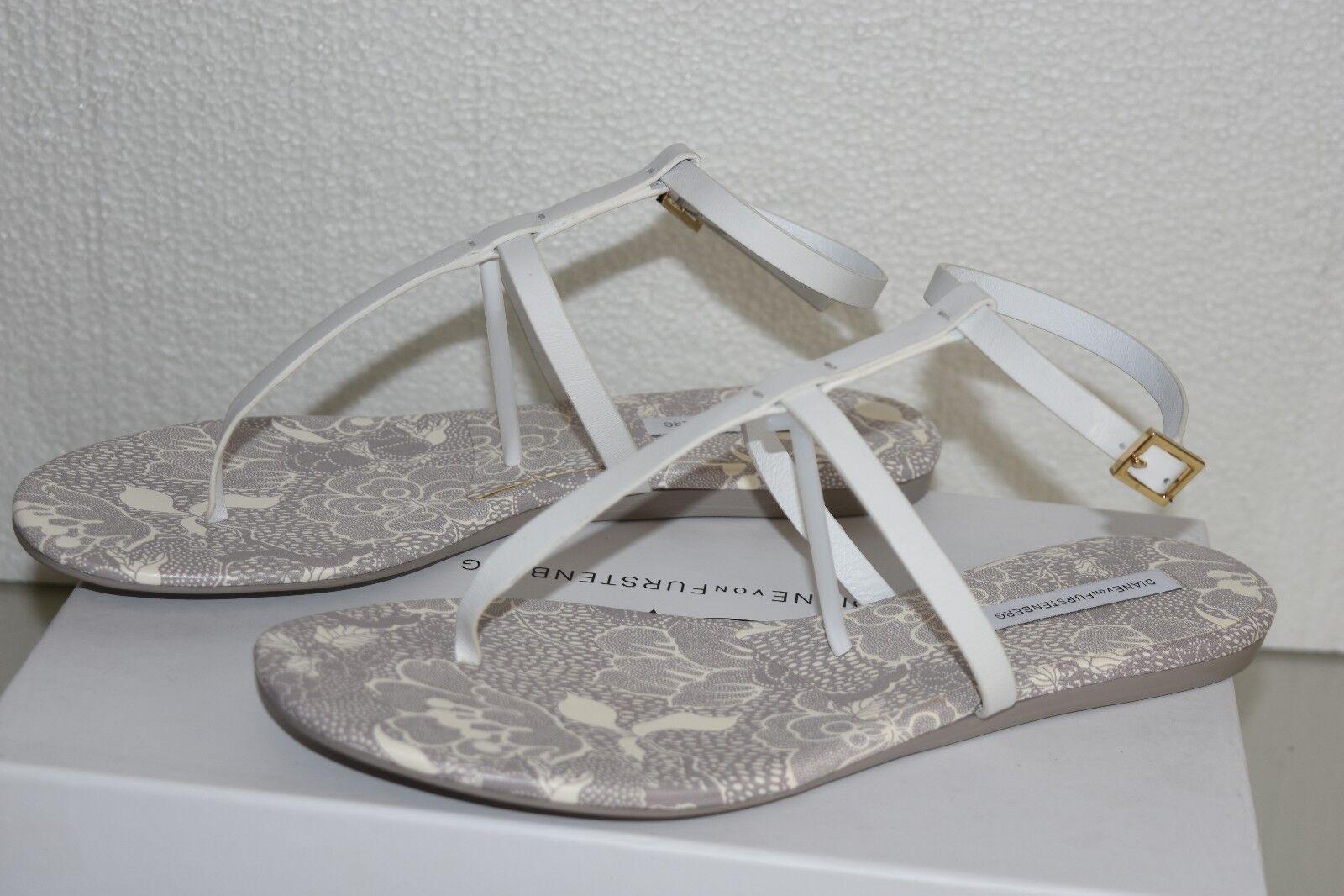 NEW DVF DIANE FURSTENBERG PERUGIA T-STRAP SANDALS WEISS LEATHER Schuhe 10 40