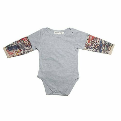 Newborn Baby Tattoo Sleeve Flower Printed Romper Comfy Cotton Romper Jumpsuit UK