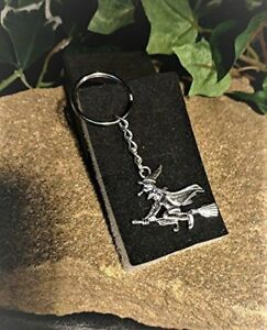 Handmade-Witch-on-a-Broomstick-Key-Ring-Handbag-Charm-Gift-Boxed
