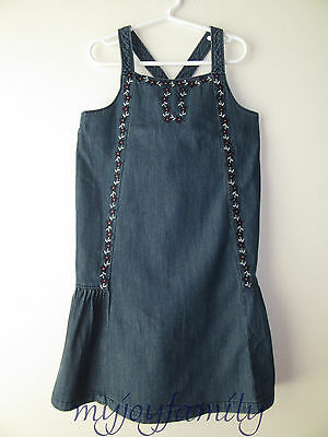 HANNA ANDERSSON Crossback Chambray Sundress Dress Denim Blue 140 10 NWT