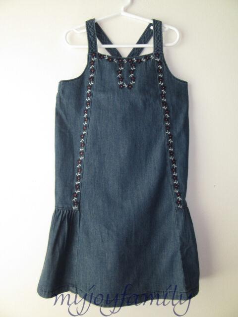 HANNA ANDERSSON Crossback Chambray Sundress Dress Denim Blue 130 8 NWT