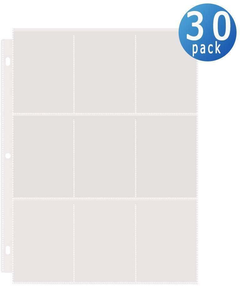 9-Pocket Baseball Card Sleeves For 3 Ring Binder Clear 30