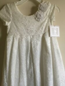 NWT Bella by Marmeletta White Beach Portrait Lace Satin Party Dress Size 5 6