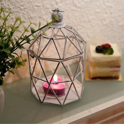 Vintage Tea Light Candle Holder Hollow Bird Cage Candlestick Wedding Decor Gifts