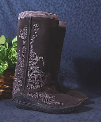 BOHO Purple Embroidered Mid Calf PUMA MONSOON Pull-on Boots Sz 6 US 3.5 UK
