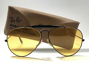 4c523ed19d Image is loading VINTAGE-RAY-BAN-OUTDOORSMAN-BLACK-62MM-AMBERMATIC-LENSES-