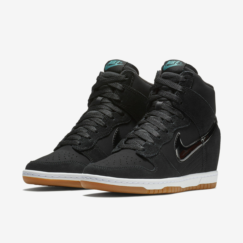 Nike Nike Nike dunk hi wesentliche keil schwarzen gummi 644877-011 himmel damenschuhe größe 8,5 neue 11c9c0