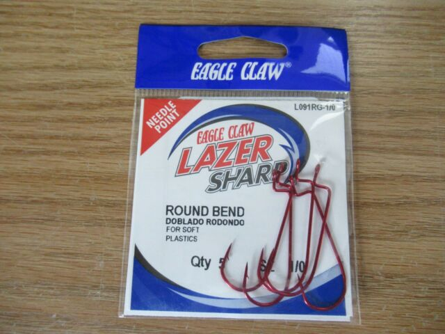 10 EAGLE CLAW LAZER SHARP Needle Point Round Bend Red Hook L091RG taille 3//0 Crochets