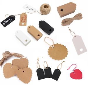 50-100-Regalo-di-Natale-Carta-Kraft-Tag-Prezzo-matrimonio-conchiglia-etichetta-bagaglio-in-bianco