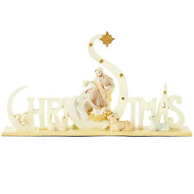 Resin Christmas Sign with Nativity Scene Free Standing / Table Top Decoration