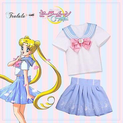 Cute Anime Sailor Moon Crystal 20th Sailor Shirt Vest Pleated Skirt Lolita Girls