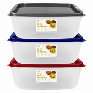 3x Set of 4L Large Food Container Tubs with Microwaveable Vented