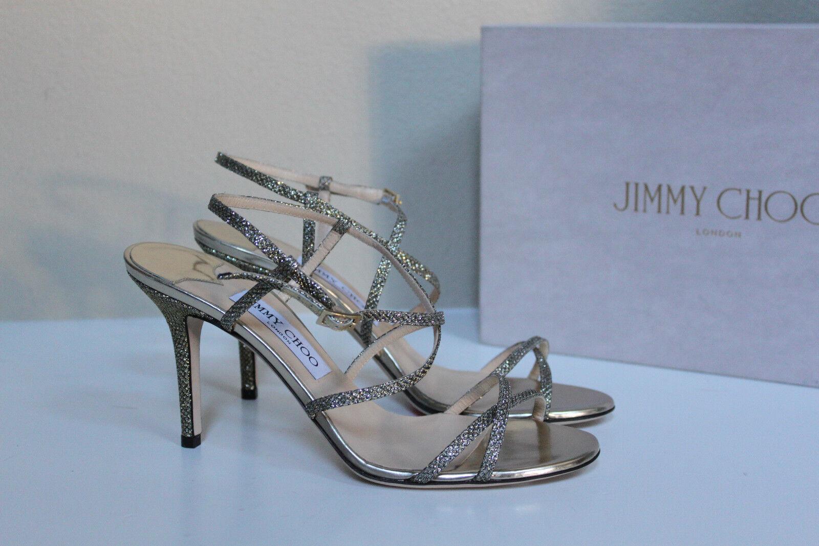 New sz sz sz 9   39 Jimmy Choo Elaine Glitter Light Bronze Open Toe Ankle Sandal shoes 4c1a48