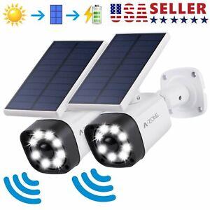 A-ZONE-Metal-LED-Solar-Power-Light-Motion-Senor-Wall-Lamp-Security-Dummy-Camera